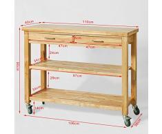 SoBuy® Carrello cucina, Base Credenza,Mobile ingresso,in legno di Hevea, FKW24-L,IT