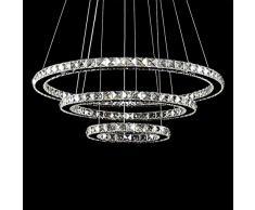 cristallo luce di soffitto, lampada a sospensione TOPMAX LED 30 * 50 * 70cm 3 anelli di cristallo cromo freddo Un bianco +