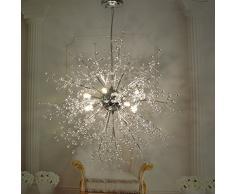 Lampadari a sfera con fuochi dartificio a forma di stella, lampada da soffitto a LED in acciaio inox post moderno Creative Iron living room Lampada da pranzo per sala da pranzo, luce calda