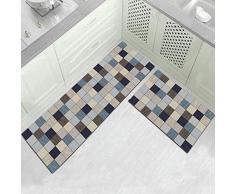MWPO Set di tappeti da Cucina, 2 Pezzi di Tappeto Quadrato Scuro Semplice 6 mm di Spessore, 40 * 60 + 40 * 120 cm, Set da Tappeto Antiscivolo per Tappetino da Cucina in Gomma