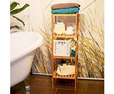 Relaxdays 10013497 Scaffale per Bagno/Cucina, in Legno di Bambù, con Grana Naturale, Leggero e Resistente All´Umidita´, 33 X 33 X 110 cm, Marrone Chiaro