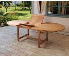 Tavolo da giardino Ovale allungabile in Teak Alicudi Moia L 180/240 cm - A 75 cm - P 120 cm