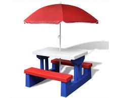 vidaXL Giardino tavolo da picnic panchina esterno con parasole per bambini