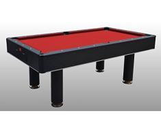 Tavolo da Biliardo trasformabile in Tavolo e Ping Pong Fenice Nero (Panno Rosso) - Carambola - (216 cm x 123 cm x 82 cm) - Completo di Tutti Gli Accessori