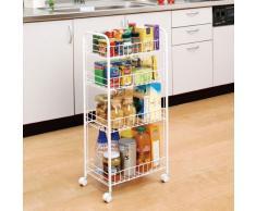 Iris 530868 magazzino scaffale con rotelle, supporto/pratico/incastro/psante lorganico/spazi scaffale, nicchie/cucina armadio, scaffale da cucina - 4 Schuben