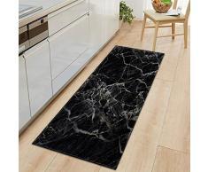 WGOO Carpet Tappeti Cucina Lavabile Antiscivolo Design Tappeto da Cucina,Tappeto per Bagno Stampato in Marmo Nero Spessore 7MM,60X180CM