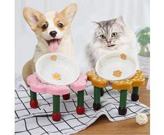 LSX - Pet Ciotola Ciotola del Fiore dellanimale Domestico, Ciotola Antiscivolo del Cane del Tavolo da Pranzo dello scaffale del Cibo for Cani con la Ciotola dellalimento dellorsacchiotto Piatto di