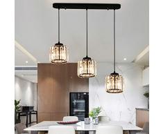 K9 Crystal Lampada a sospensione 3 luci Moderno Lusso Cristallo Luce pendente per Isola della cucina Sala da pranzo Tavolo da pranzo Bar Balcone Scale Soggiorno Lampadario Altezza regolabile, L85CM
