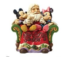 Enesco Disney Tradition Oggetto Decorativo Babbo Natale nella Sedia con Topolino e Minnie, Resina