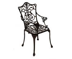 Sedia da giardino Poltrona Sedia in metallo Sedia Alluminio Pressofuso Bronzo Stile liberty