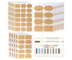 Kesote Etichette di Carta Kraft - 200 Adesivo Lavagna Riutilizzabile + 2 Marcatore di Gesso Colorato Lavagna Adesiva per Decorare Barattoli, Vino, Dispensa, Casa e Ufficio