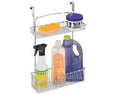 mDesign Cesto portaoggetti ideale per cucina e bagno – Organizzatore cucina in metallo a 2 ripiani – Mensola cucina da appendere – argento