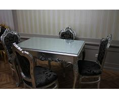 Tavolo da pranzo barocco argento nero stile antico ales0690si12
