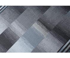 TAPISO Agadir Tappeto Passatoia Velluto al Metro Corridoio Cucina da Ingresso Grigio Blu Geometrico Antiscivolo A Pelo Corto 80 x 350 cm