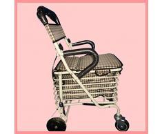 Camminatore pieghevole in metallo con seduta imbottita supermercato tempo libero quattro ruote Walker pu¨° sedersi per acquistare carrelli portavivande carrello degli acquisti