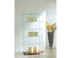 MHN Vetrinetta ad angolo in vetro chiudibile – grande supporto vetrina illuminata in legno di ciliegio, 68 cm