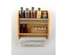 Miniatura mensola cucina con spezie per casa delle bambole