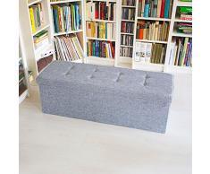 Relaxdays Cassapanca Pouf Pieghevole, 114 X 38 X 38 cm, Lino, Grigio