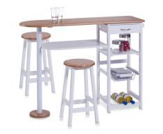 Zeller, Bancone stile bar per cucina, con 2 sgabelli: tavolo 118 x 38 x 89 cm, sgabelli 29 x 29 x 54 cm, Bianco (Weiß)