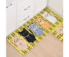 Tappeti da Cucina, con Gomma Antiscivolo, Motivo Animale, per Cucina, Soggiorno, Bagno, Cameretta, Gatto Giallo, 40 x 60 cm