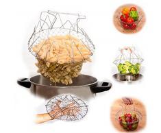 Vyage (TM) 1pcs pieghevole risciacquo a vapore Strain francese Fry Chef carrello Magic Basket maglia del cestello netto della cucina Cooking drop strumento di Spedizione