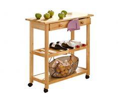 LifeStyleDesign, Carrello da cucina, legno dell'albero della gomma verniciato in MDF, gambe in legno massello, 87 x 40 x 80, Marrone (Natur)