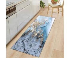 QZHYGE Tappetini per tappeti Lunghi zerbini di Ingresso Stampato in Marmo Bianco Nero per tappeti da Bagno da Cucina per Soggiorno 60X180CM C