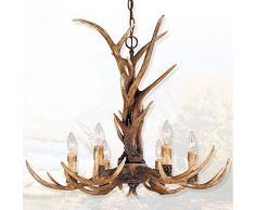 EFFORTINC Antlers epoca lampadari stile leggero resina 6, americani lampadari campagna corna rurali, soggiorno, bar, caffetteria, sala da pranzo cervi lampadari in corno
