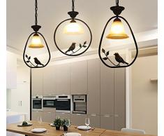 DHG Lampadari da pranzo in stile europeo, lampade da bar con personalità creativa nordica, ingresso sala da pranzo lampadari americani, lampadario con ingresso per uccelli,io,Taglia unica