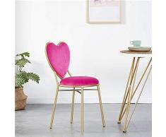 Sarazong Stool Nordic Love Shape Poltrona, Dining Chair Lounge Chair Dressing Table Chair Sgabello Trucco Piccolo Schienale Sedia in Ferro battuto Sgabello da Bar,E