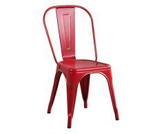 Milani Home s.r.l.s. Sedia in Metallo di Design Moderno Industrial Vintage Colore Rosso Antico Ossidato per Sala da Pranzo Bar Ristorante Soggiorno
