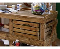 Tavolo scivania bancone in legno con recupero bancali rigenerati 180 x 60 cassette frutta in legno