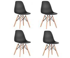 Set di 4 sedie per sala da pranzo, design ergonomico, gambe in legno di faggio naturale, look moderno di metà del secolo.