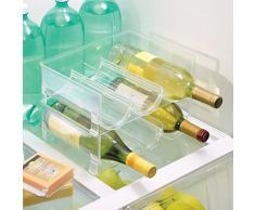 InterDesign Fridge/Freeze Binz Cantinetta Per 3 Bottiglie, Portabottiglie Di Vino Impilabile In Plastica, Trasparente