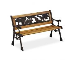 Relaxdays Panchina per Bambini, Esterno, Design a Tema Africa, Legno & Ghisa, capacità Carico 50 kg,51x83x37 cm,Naturale, Legno, colata, PVC, 51 x 83 x 37 cm