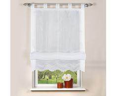Home fashion 79252-801 - Tenda a Pacchetto Batist, 140 x 80 cm, Colore: Bianco