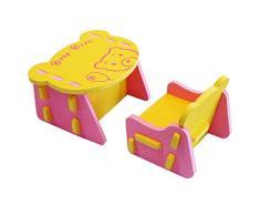 XMTMMD KIDS EVA puzzle set di tavolo e sedia bambini mobili Tavolo e sedia giocattolo per bambini in schiuma EVA facili da montare AMZPZY03
