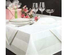 DHT Baumwolle - Tovaglia damascata, colore: Bianco, 130 x 220 cm, lavabile fino a 95°