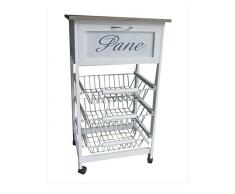 carrello da cucina portapane in legno bianco 3 cassetti chabby chic portafrutta