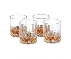 Relaxdays Bicchieri da Whisky Set da 4, Decorativi, per Vetrina e Angolo Bar, Cristallo, 250 ml