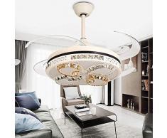 YZPFSD Ventilatore a soffitto a Scomparsa 48 Pollici di Cristallo Luce Ventilatore Ventilatore a soffitto Lampada da Letto Camera da Letto Soggiorno Sala da Pranzo Ventilatore lampadari plafonie