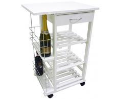 Carrello da cucina in legno bianco con porta bottiglie cassetto e ruote 3 piani per verdura frutta vivande casa salotto