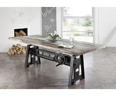 Legno massello Legno antico Ferro laccato Tavolo da pranzo 240x100 Mobili in legno massello stile Industriale mobili massiccio industriale #25