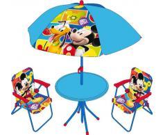Arditex WD7869 Disney Mickey Mouse Set Tavolo, Sedie E Ombrellone Da Giardino