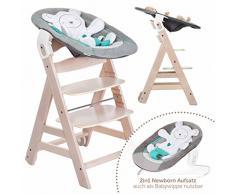 Hauck Beta Plus Newborn - Seggiolone Pappa evolutivo 0 mesi - Con Sdraietta neonato, Riduttore, Cuscino seduta, Vassoio - Altezza regolabile, Legno Chiaro Naturale White - Washed Dots