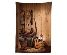 Yeuss Western Decor Tovaglia Americana Texas Style Country Music Guitar Cowboy Stivali USA Cultura Popolare, Sala da Pranzo Cucina Tavolo Rettangolare Copertura, Color Crema, 60x104 Pollici