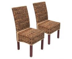 Set 2x sedia sala da pranzo M69 intreccio di banano ~ gambe chiare senza cuscini