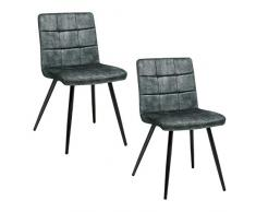 Duhome Sedia da sala da pranzo in velluto vintage sedia imbottita design retro con piedini in metallo 8043B-Vintage, colore:verde scuro, materiale:Velvet Vintage