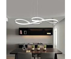 Lampada a sospensione a LED da 60 W, design moderno acrilico, illuminazione interna, altezza regolabile, lampada da tavolo da pranzo, lampadario per soggiorno, Metallo Alluminio, Bianco neutro