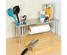 bremermann® mensola per la cucina con porta-rotolo e porta-utensili, acciaio inox